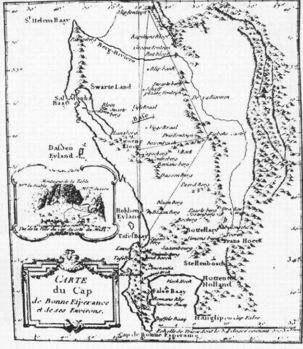 Lacaille's map of his triangulation for measuring an arc of the Meridian. From his Journal Historique, 1763.