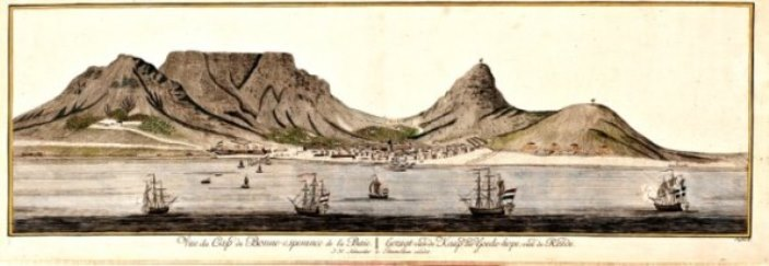 Cape Town around the time of Lacaille's visit, dominated by Table Mountain