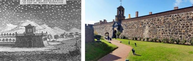Guy Tachard's observatory at the Castle which was built in 1666 by the Dutch, alongside a photo of the Castle today, slap bang in the middle of downtown Cape Town