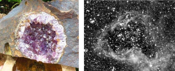 An amethyst geode from Zululand and the N158 superbubble geode from the Large Magellanic Cloud